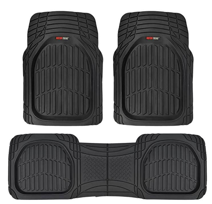 Motor Trend 923-BK Black FlexTough Contour Liners-Deep Dish Heavy Duty Rubber Floor Mats for Car SUV Truck