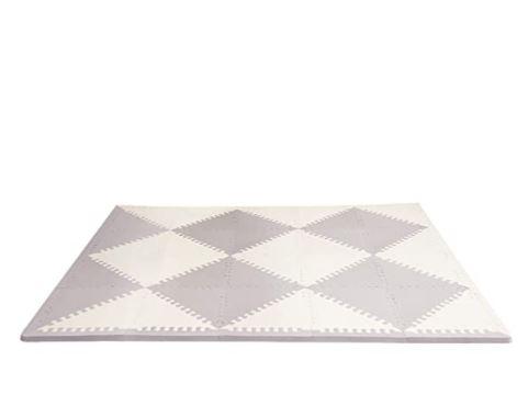 "Skip Hop Foam Baby Play Mat: Playspot Interlocking Foam Floor Tiles, 70"" x 56"", Grey/Cream"