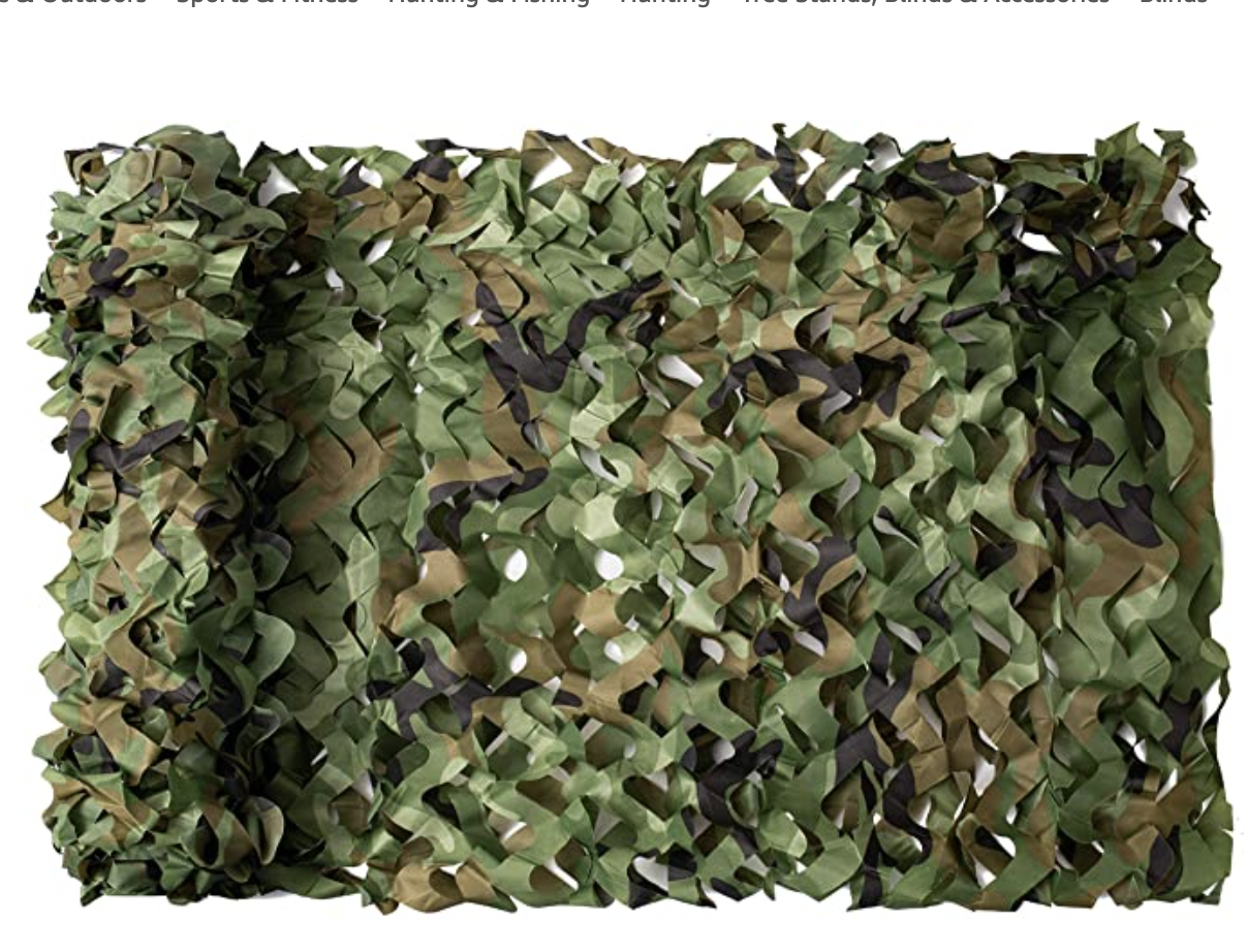 NINAT Woodland Camo Netting Camouflage Net Woodland Bulk Roll for Hunting Shooting Camping Military Decoration Sunscreen Nets 5ft x 9.8ft (1.5M x 3M)